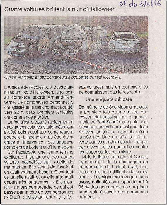 Voitures incendiées à Pont-Scorff